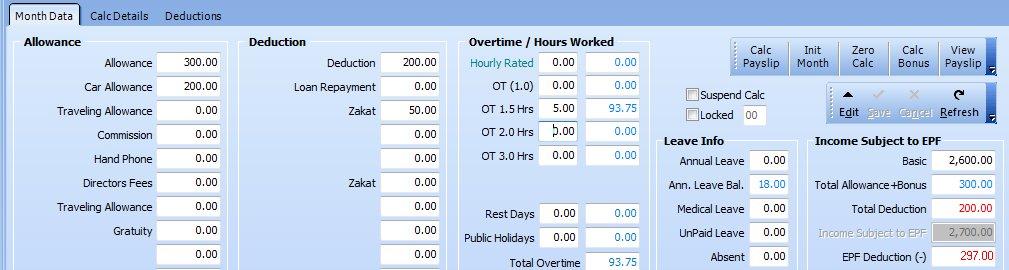 Salary Calculator input data